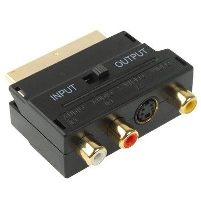 Dayday Normal Scart-Stecker auf Buchse mit Composite AV + S-Video-Buchsen (schwarz), männlich zu weiblich Scart-Anschlüsse