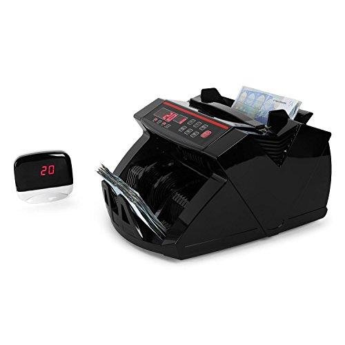 DURAMAXX Waldorf máquina contadora de billetes (comprobación UV, alta velocidad, hasta 1.000 billetes por minuto, compatible con nuevos billetes de 5 euros, automática y manual) - negro