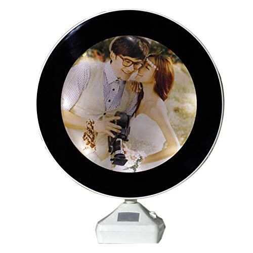 GRGFDG Personalizada Personalizado A Medida Su Marco De Fotos Redonda-Se Utiliza Como Una Luz Led De Noche Y Espejo De Maquillaje-Como Un Regalo De Recuerdo De Cumpleaños De Navidad Día De San Valentín Boda