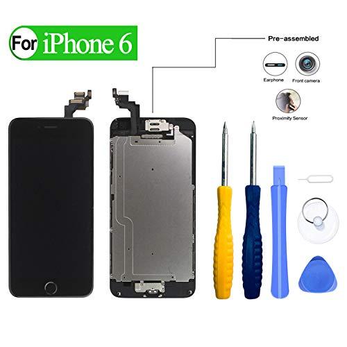 HDXYW Für iPhone 6 Schwarz vormontiert Ersatz Display LCD Touchscreen Bildschirm Front Glas Schwarz Home Button, Hörmuschel,Frontkamera & Näherungssensor mit Reparaturset Werkzeuge (Ersatz 6 Iphone Front-bildschirm)