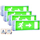 ELRO 4er-Set LED Notbeleuchtung inkl. Ersatzbatterie u. 4 Richtungsaufkleber, IP65; NV52