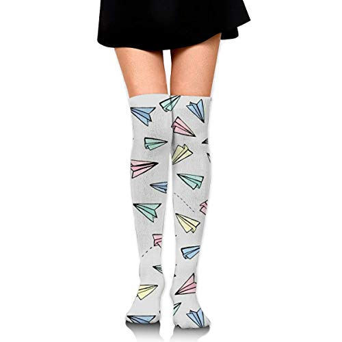 DGHKH Women Teens Girls Over Knee Thigh High Boots Socks Tube Leg Warmers Stocking Cotton Cosplay Long Comfortable Leggings School Kids Flying Paper Airplanes Sock School Girl Leg