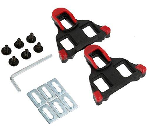 Fahrrad-Schuhplatten Cleats Set 6 Grad Schweben, SPD-SL Fahrradschuhe Pedalplatten von Selbst Schließend mit Schraubenschlüssel für Die Meisten Straßenradfahren Schuhe -