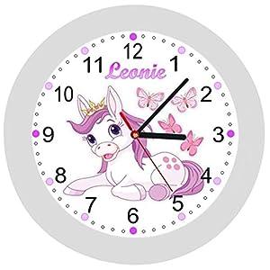 ✿ Kinderwanduhr in 4 Farben ✿ Einhorn Unicorn 1 ✿ Wanduhr ✿ KEIN TICKEN ✿ mit/ohne Name
