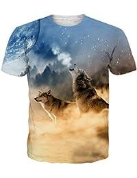 e2450f7c90 Idgreatim Unisex Informale 3D Stampa Animalier Manica Corta T-Shirt Tees  Graphic