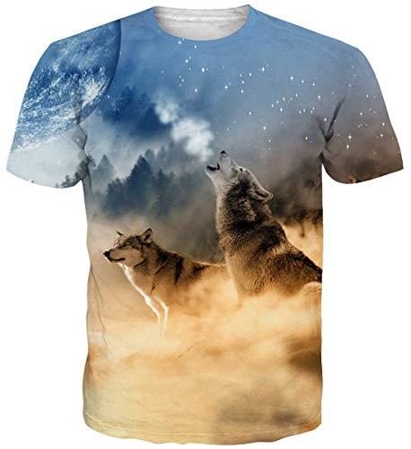Jugendliche Für Katze Kostüm - Idgretim Frauen Männer 3D Gedruckt Zwei Wolf T-Shirts Oansatz T-stücke