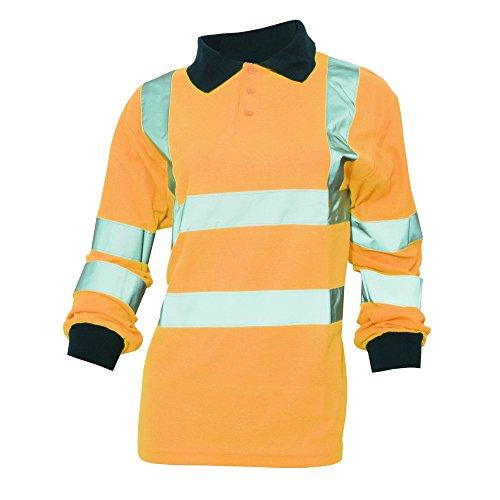 Yoko - Polo/camisa de seguridad de manga larga de alta visibilidad (Tallas grandes hasta 6XL) para mujer señora - Trabajar / Reflectante (Mediana (M)/Naranja butano)