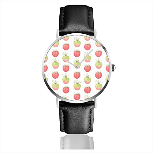 Aquarell Tomaten Casual Uhren für Herren Damen Damen mit schwarzem Leder ()