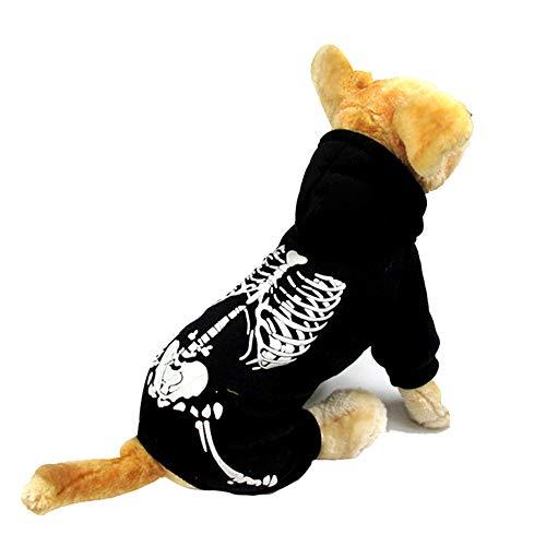LWAN3 Halloween-Hundekostüm, leuchtet im Dunkeln mit Totenkopf-Aufdruck, Kapuzenjacke, Kleidung, Haustier Bekleidung Zubehör für kleine Hunde -