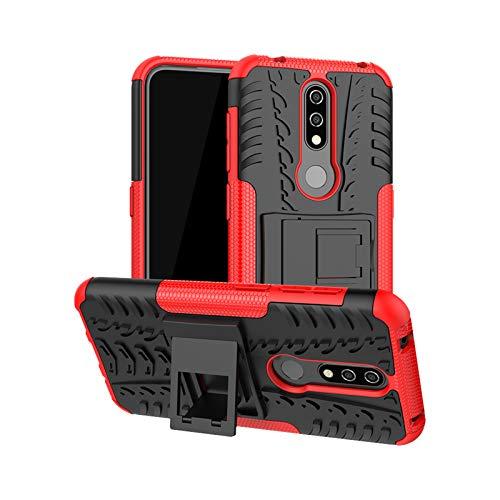 betterfon   Nokia 4.2 hülle Outdoor Handy Tasche Hybrid Case Schutz Panzer TPU Silikon Hard Cover Bumper für Nokia 4.2 Rot