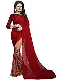 Refreshing Deal Georgette Saree Today Collection With Blouse Piece For Women Printed In Maroon Color