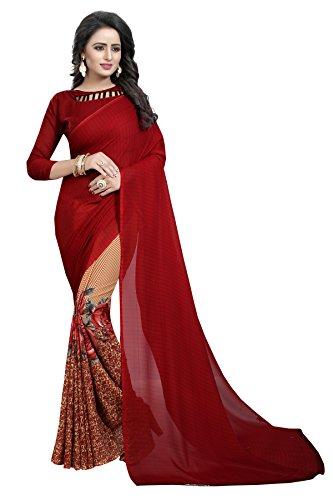 Shreeji Ethnic Cotton silk Saree With Blouse Piece (Half Maroon_Red_Free Size)