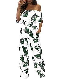 ❤️ Mono corto de mujer,Las mujeres ocasionales fuera del hombro Floral Leaf Impreso Sparkly Capelet Loose Playsuit ABsolute