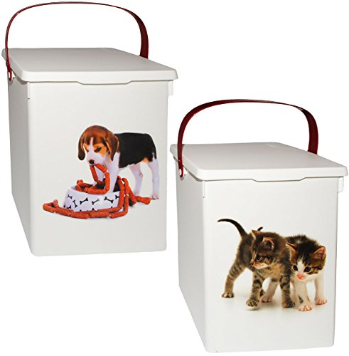 """1 Stück _ Futterbox / Futterdose - """" süße Haustiere """" - für Tierfutter - Katzenfutter - Hundefutter - 5 Liter - Vorratsdose / Aufbewahrungsbox - aus Kunststoff / Dose - Kiste mit Deckel und Tragegriff - Box & Kiste - Haustiere - Katzen Hunde Welpen - Tierfutterdose - Trockenfutter / Behälter - Plastikdose - Aufbewahrung - Hundespielzeug"""