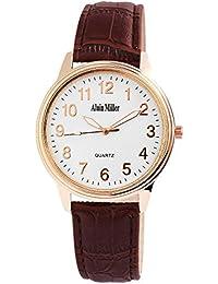 Alain Miller - Reloj de Pulsera analógico para Hombre (Correa de Cuero y Mecanismo de Cuarzo), Color Blanco,…