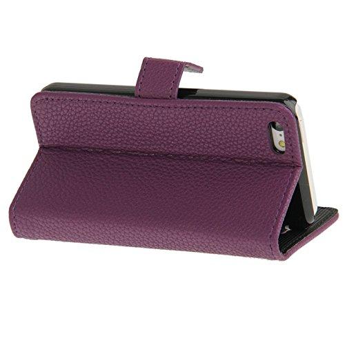 Wkae Case Cover Litchi Textur Ledertasche mit Kreditkartensteckplätze und Halter für iPhone 5C ( Color : Black ) Purple