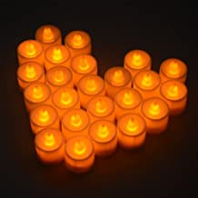 Juego 24 Luces LED Color Amarillo ?mbar Titilante con batería para Fiesta Boda decoración Club en Blanco M-LD009