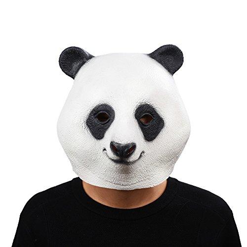 Party Story Halloween Maske latex Panda Tiermaske tierkopf (Panda Latex Maske Deluxe)