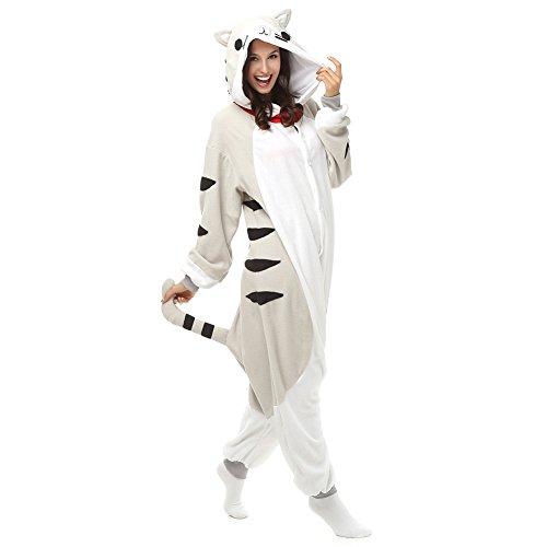 Adultos pijamas de dibujos animados gato de Chi Onesie pijamas forro Polar Animal Halloween Traje de Cosplay Unisex gris gris XL (Altura 5'10-6'1)