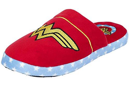 Wonder Woman - Zapatillas de Peluche con Licencia Oficial para Adulto, Color Rojo, Talla 37 EU