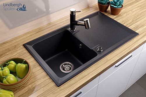 Lavello di granito nero, per cucina, bagno e canale di scolo
