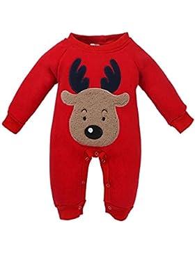 ZEZKT-Baby Babykleidung Weihnachten Overall Strampelanzug NeugeborenStrampler MädchenJungenOutfitsmit Kapuze