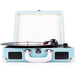 Musit Rend Tocadiscos Con Vinilo De To De MP3 Función, Vinilo Maleta Portátil Con 2 Altavoces Integrados, Azul