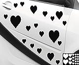 Kleb-drauf® - 19 Herzen/Rot - glänzend - Aufkleber zur Dekoration von Autos, Motorrädern und allen anderen glatten Oberflächen im Außenbereich; aus 19 Farben wählbar; in matt oder glänzend