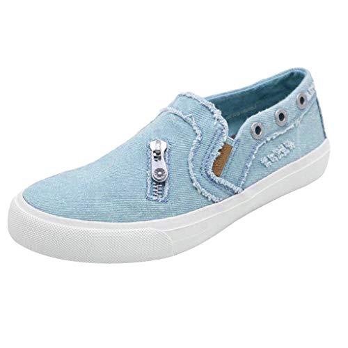 POIUDE Einzelne Schuhe Damen Weiche Flache Knöchel Einzelne Schuhe Leinwand Denim-Reißverschluss Freizeitschuhe(Blau, ()