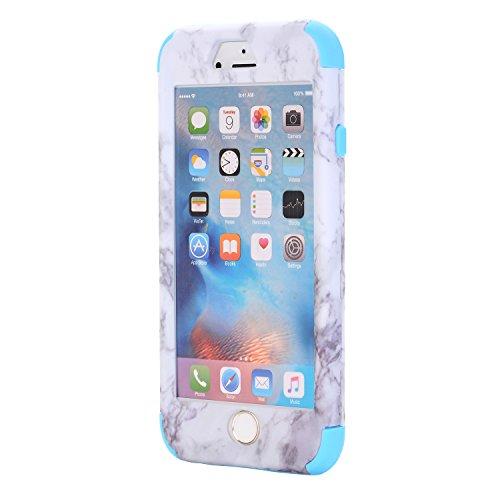 Cover iPhone 6S plus 5.5, Custodia iphone 6 plus, iphone 6S plus Silicone Cover, MoreChioce 360°Protection Moda Painting Colorato Marmo Modello Custodia, Ultra Slim Soft Silicone Gomma Morbido TPU Rag Marmo Blu