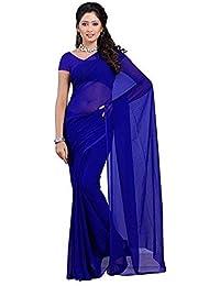 shyam textile Women's Georgette Saree with Blouse Piece(st-04_Royal Blue_Free Size)