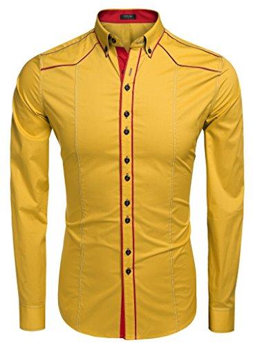 CRAVOG Mode Chemise Homme Mince Contrast Manches Longues / Shirts Cintrée Boutonné Patchwork Décontracté Or