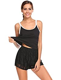 9892d5d001 ... Dress Striped Nightshirt Nightgown with… £23.99 · Keelied Women Ladies  Pyjama Sets Lace Camisole Shorts 2 Piece Loungewear Sleepwear