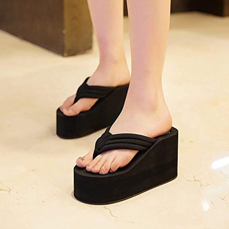 jia nouvelle hong nouvelle jia distribution sac 9-piece tongs avec espadrilles femmes chaussures et pantoufles, Noir  (36) 8664dc