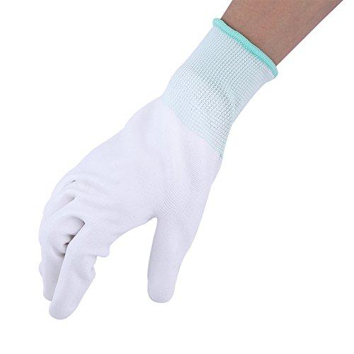 Antistatic Antiskid Handschuh PU beschichtet Palm Finger Teil für PC Computer Telefon Reparatur(Grün)