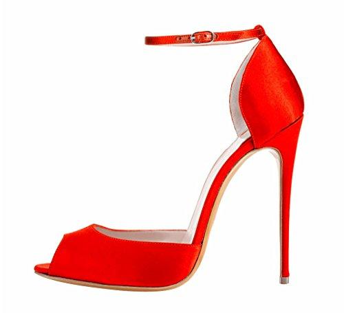 Bardnera Edefs 120mm Wölbungs Toe Damenschuhe High Peep Rot Bügel Style Faschion Heel Abschlussball Sandaletten Bw1q6