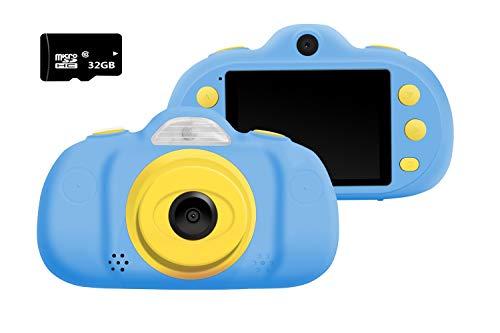 Kinder Kamera Mini wiederaufladbare Digitalkamera Kinder Anti-Drop-Shockproof Design 2,4-Zoll-Bildschirm Digital Camcorder mit 8MP DSLR Dual Lens wasserdichte Kamera Kinder Geschenk Dslr, Dual Lens