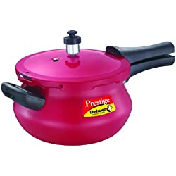 Prestige Deluxe Plus Mini Junior Induction Base Aluminium Pressure Handi, 3.3 Litres, Flame Red