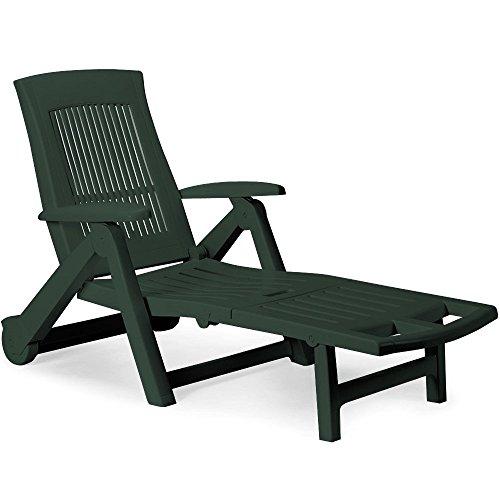 Sonnenliege Zircone ✓ inkl. Rollen ✓ verstellbare Rückenlehne ✓ klappbar ✓ Kunststoff - Gartenliege Rollliege Liegestuhl - Farbauswahl - grün