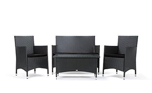 Rattan4Life Avignon Rattan Schwarz/Schwarz Polyrattan Gartenmoebel Sitzgruppe Lounge Moebel Set...