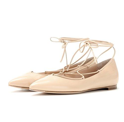 EDEFS Femmes Artisan Fashion Ballerines Pointus Lady Elégants En Lacets Lanières à Cheville Chaussures Plates Beige