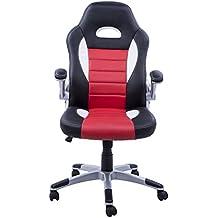 Silla de Oficina Racing Deportiva para Despacho Tipo Silla Ejecutiva Modo Giratorio - Negro Rojo Blanco