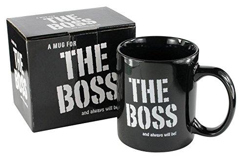 Taza de desayuno en caja regalo con mensaje 'El jefe' (en inglés, cerámica, 320 ml), color negro