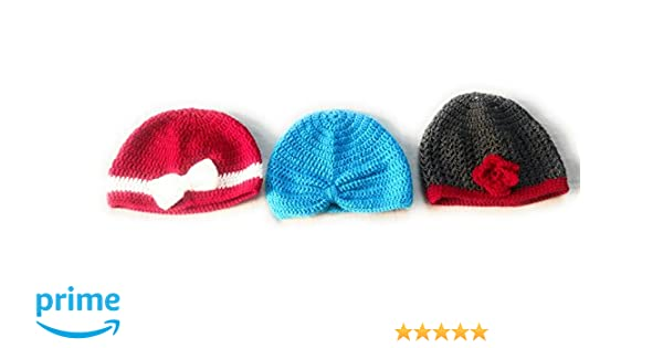 New Jain Traders - Combo of 3 Hand Made Crochet Woolen Design Caps for Baby  Boys   Girls (6-12 Months 141012fa31f8