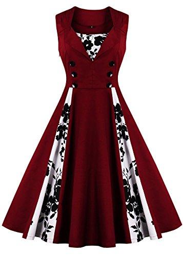 Größe Kleid Plus 50s (Oriention 1950s Rockabilly Kleid Blumenkleid Vintage Retro Partykleider Cocktailkleider Sommerkleid damen Knielang (48,)