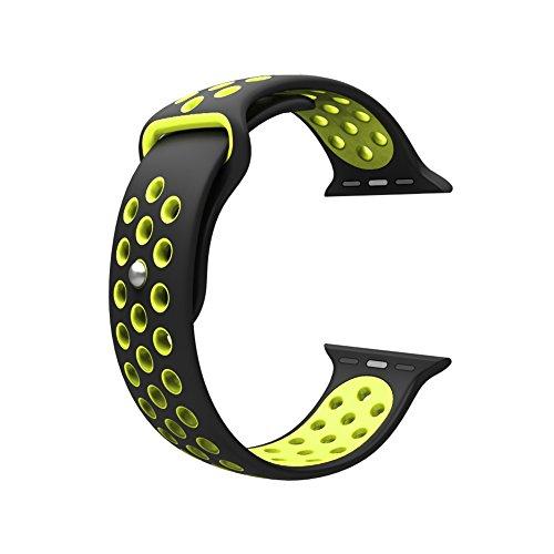 Cinturino per Apple Watch, Wearlizer morbido silicone Sport fascia di ricambio per serie 1e Serie 2, 42mm BlackYellow