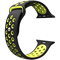 Cinturino per Apple Watch, Wearlizer morbido silicone Sport fascia di ricambio per serie 1 e Serie 2, 42mm BlackYellow