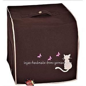 Abdeckhaube für Thermomix, TM 6, TM 5, Mod. Katze mit Schmetterling, Dunkelbraun mit beige, Utensil-Taschen, Canvas…