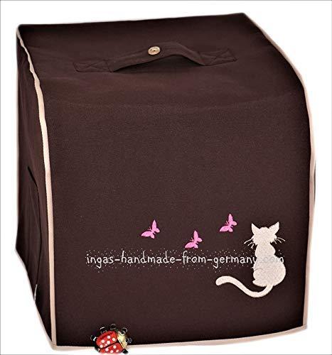 Abdeckhaube für Thermomix, TM 6, TM 5, Mod. Katze mit Schmetterling, Dunkelbraun mit beige, Utensil-Taschen, Canvas-Baumwolle, Gefüttert, Stickerei, Köperband