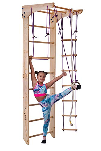 RINAGYM Kletterwand für Kinder - Indoor Klettergerüst aus Holz - Wand-Reck, Stange, Gymnastik-Ringe, Kletterseil, schwedische Leiter, Schaukel, Montagesatz